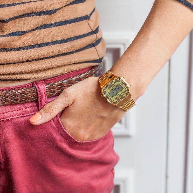 การใช้งาน  สกลนคร 【 STOCK】Original _ Casio Unisex คอลเลกชันนาฬิกาดิจิทัลพร้อมสแตนเลสสร้อยข้อมือ 1 ปีแหวนทองคำ A168WEC-5EF