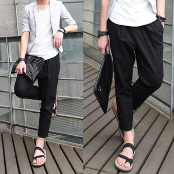 2018 Top Selling Solid Spring Summer Men Linen Pants Trousers Big Size Casual Mens jogger Pants -Black