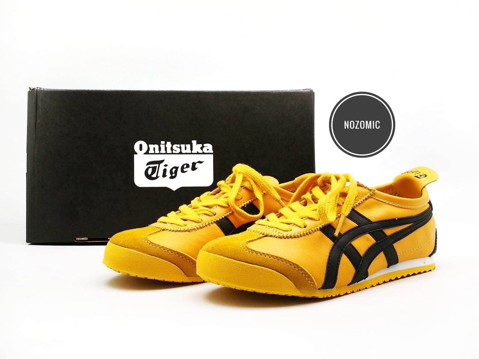 detailed look f7de1 1e855 Asics Onitsuka Tiger Mexico 66 Yellow Base With Dark Blue Stripes Shoes  Lace Leather Sneakers