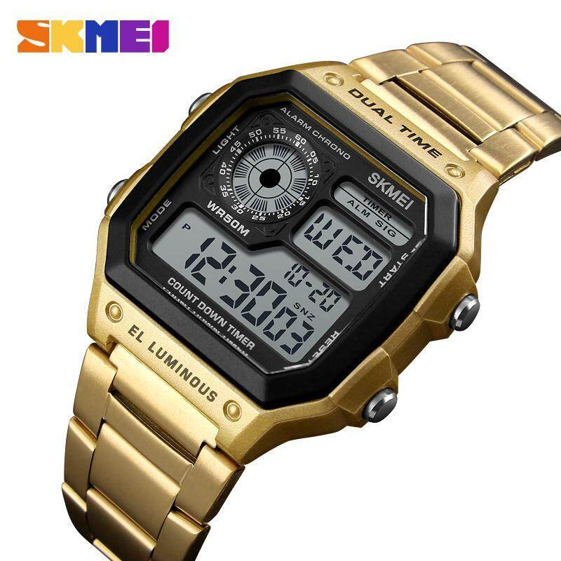 New SKMEI 1335 Men Sports Watches Digital Waterproof Watch Count Down Stainless Steel Fashion Wristwatches Male Clock Malaysia