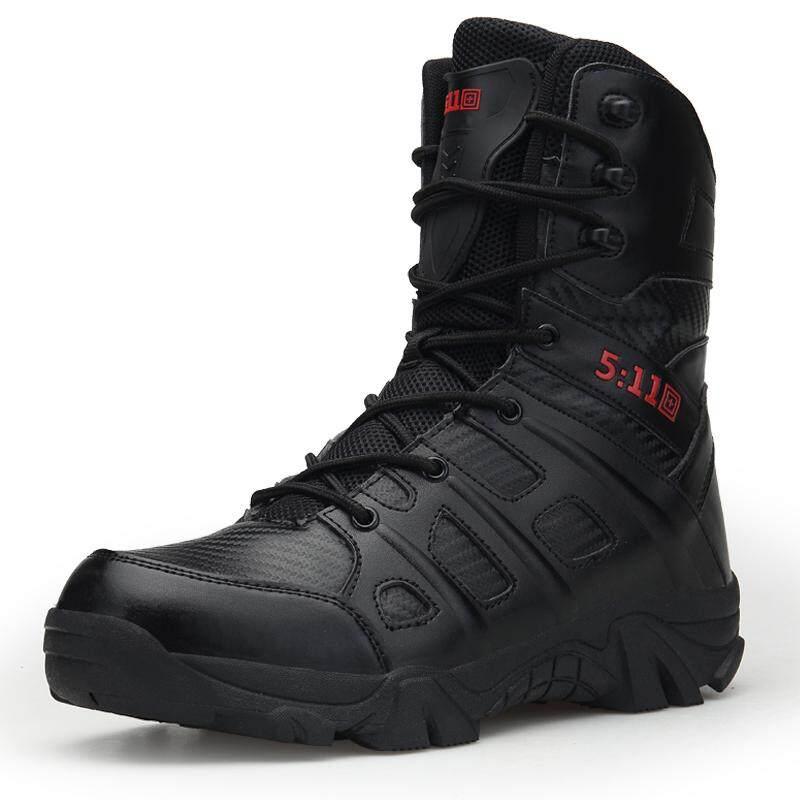 Tentara Gurun Taktis Pria Sepatu Boot Tempur Kulit Sepatu Militer Tentara Sepatu Trekking Intl
