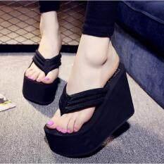 Women's Sexy High Heels Flip Flops Slippers Wedge Platform Antiskid Beach Shoes black