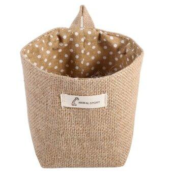 Cotton Linen Hamper Wall Hanging Bag Gadget Storage Organizer Foldable Basket Khaki Dots