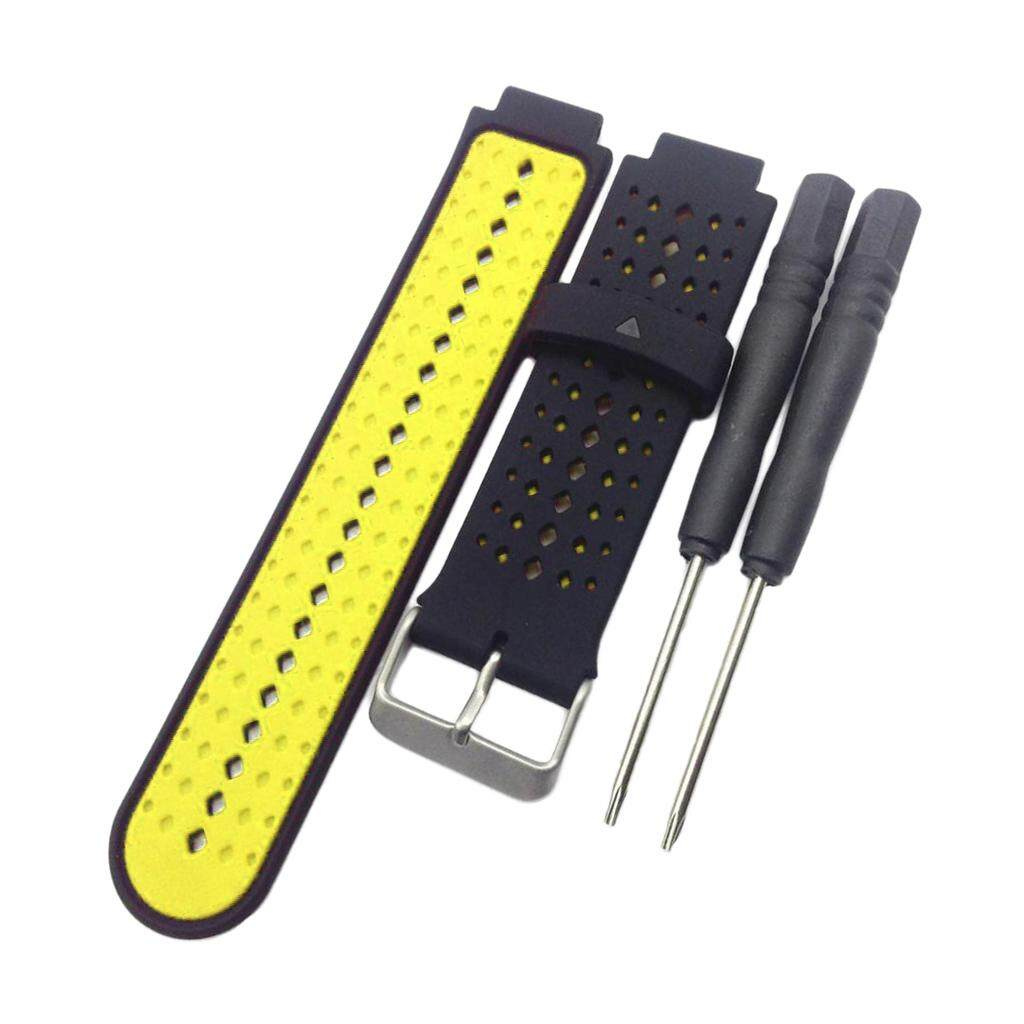 Miracle Shining Replacement Band For Garmin Forerunner 220 230 235 620 Black & Yellow