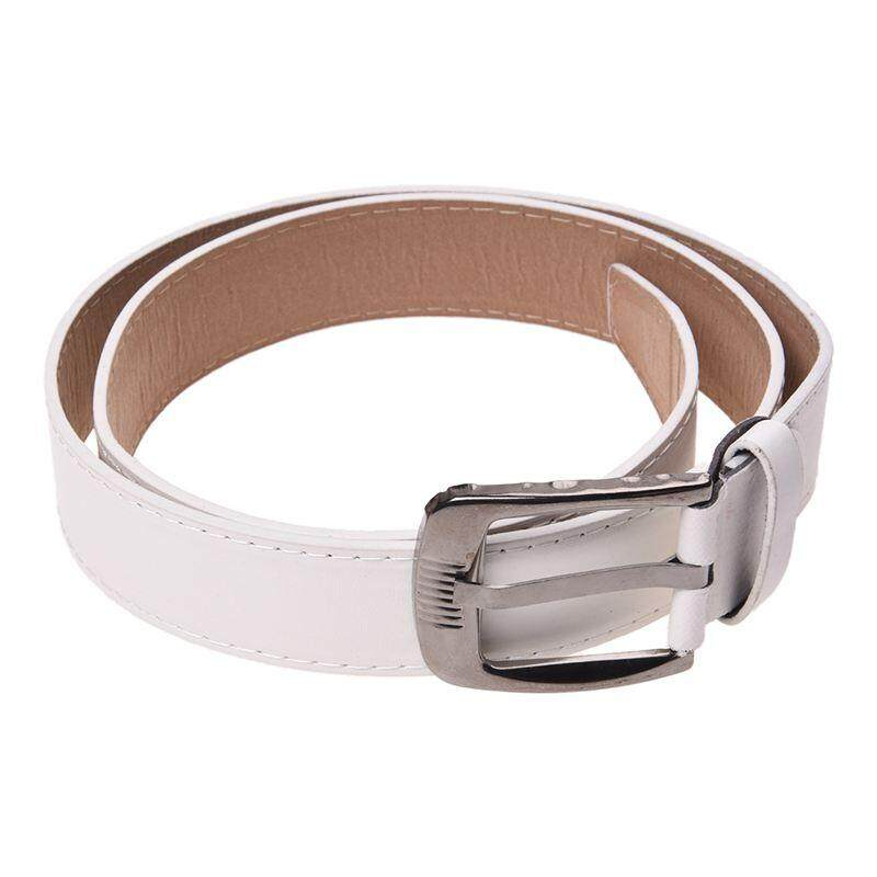 Simple Men Casual Waistband PU Leather Belt Smooth Buckle Belt, White