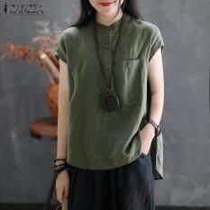 Áo sơ mi nữ tay ngắn cổ trụ đơn giản chất liệu linen dáng rộng trẻ trung ZANZEA