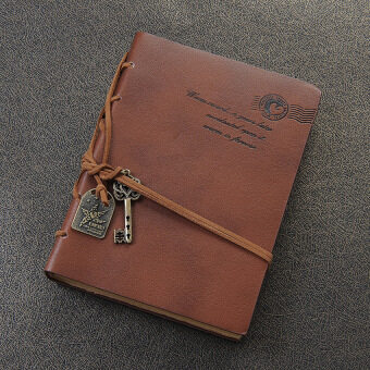Classic Retro Vintage Leather Bound Blank Pages Notebook Journaldiary Orange