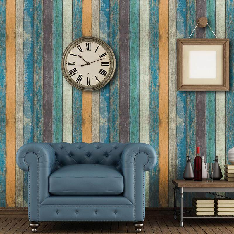 Retro wood stripe living room bedroom kitchen cabinet bedroom is decorated with adhesive wallpaper stickers