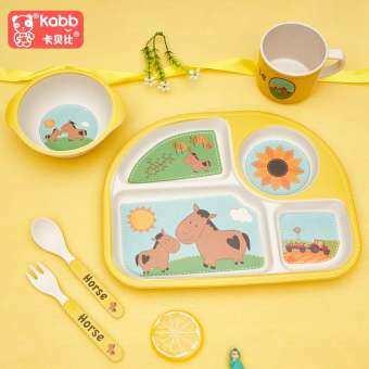 COBBE กว่าเส้นใยไม้ไผ่ชุดเด็กบนโต๊ะอาหาร Petpet แยกชุดจานอาหารการ์ตูนช้อนชามโรงเรียนอนุบาลน่ารักจานหลุม-