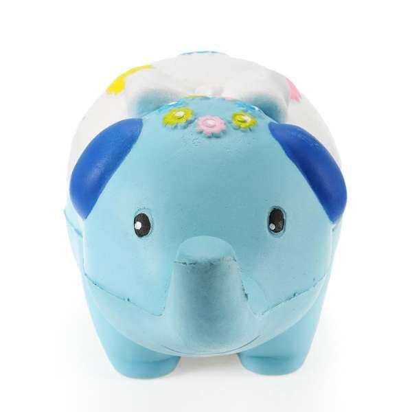 Squishy Elephant Jumbo 17cm Slow Rising Animals Cartoons Collection Gift Decor Toy - Blue