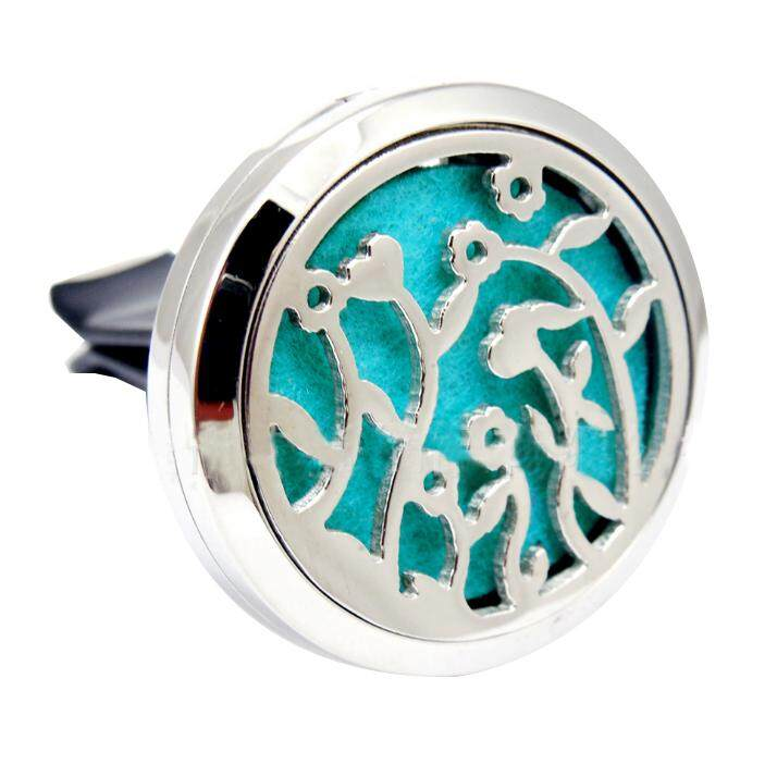 New Silver Color 316L Stainless Steel Car Clip Perfume Aromatherapy Essential Oil Diffuser Locket :Flower vine