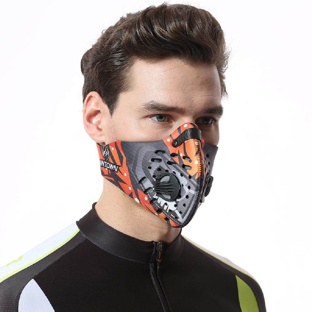 (Washable) Xintown Carbon Dust-proof Mask Cycling Face Mask Anti-Dust Anti-PM2.5 Mask Outdoor Motorcycle Mask Bicycle Cycling Ski Half Face Mask Training Mask Face Shield Anti-Pollution Masks