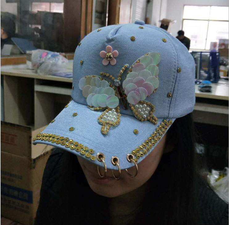 Korean spring and summer fashion wild butterfly hat female baseball cap sun  hat trend sun hat 9aa51dfe2f