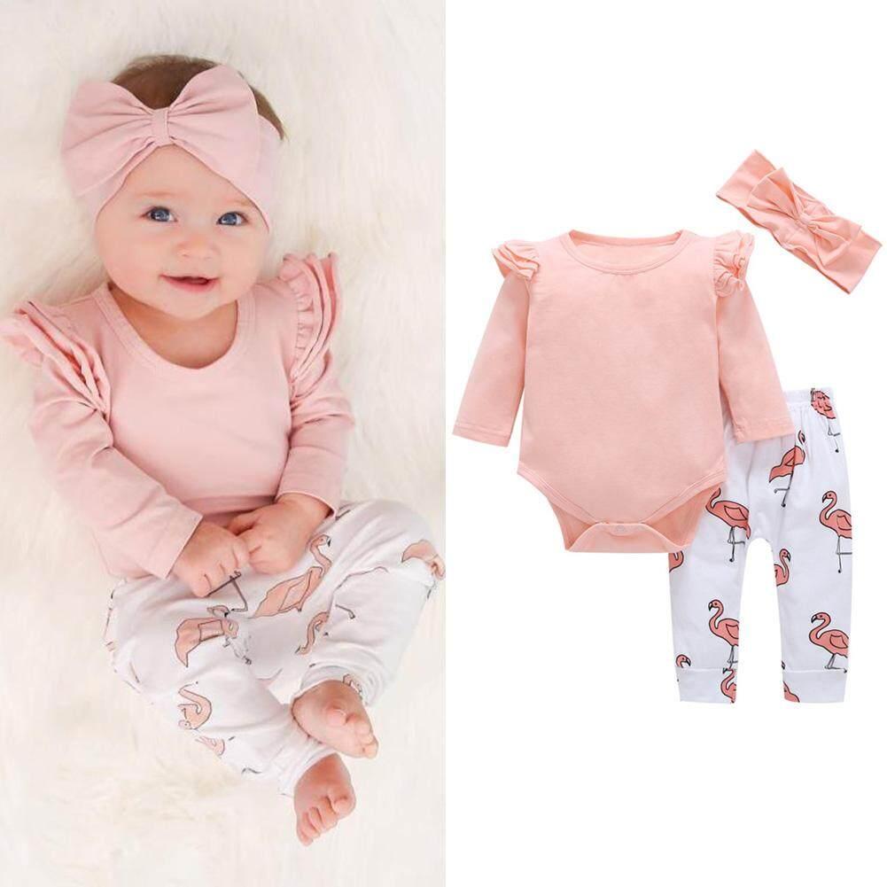 Veecome 3Pcs/Set Baby Girl Cotton Jumpsuit Clothes Set Long Sleeve Jumpsuit + Pants + Bowknot Headband Costumes