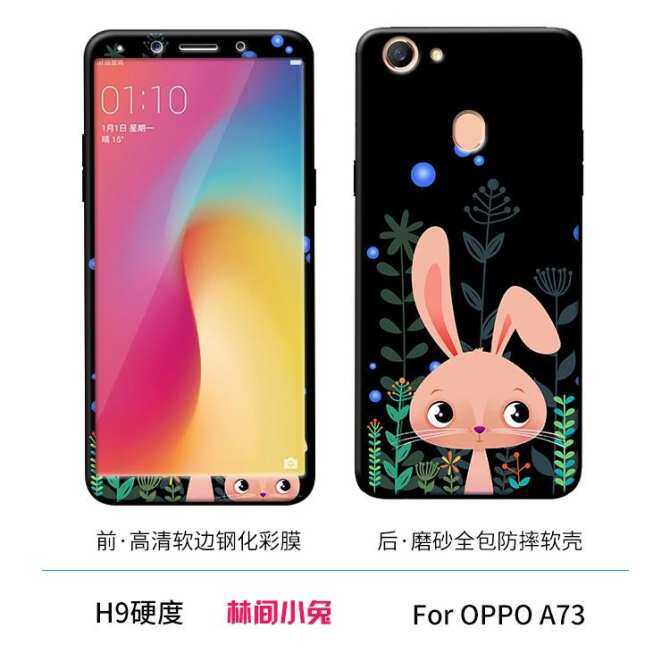 For Oppo F5/A73 Lovely 3D Painting Front Full Cover Color Tempered Glass Screen Protector