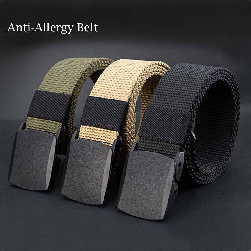Boboky Anti Allergy Belt With Nylon Material And Anti-allergy POM Plastic Buckle Fashion And Stylish Black Color 140cm BOOM6M (Color:As First Picture)