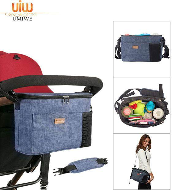 Umiwe Universal Baby Stroller Organizer Bag/Diaper Bag with Deep Cup Holders and Shoulder Strap, Extra Storage Space for Organize The Baby Accessories and Your Phones
