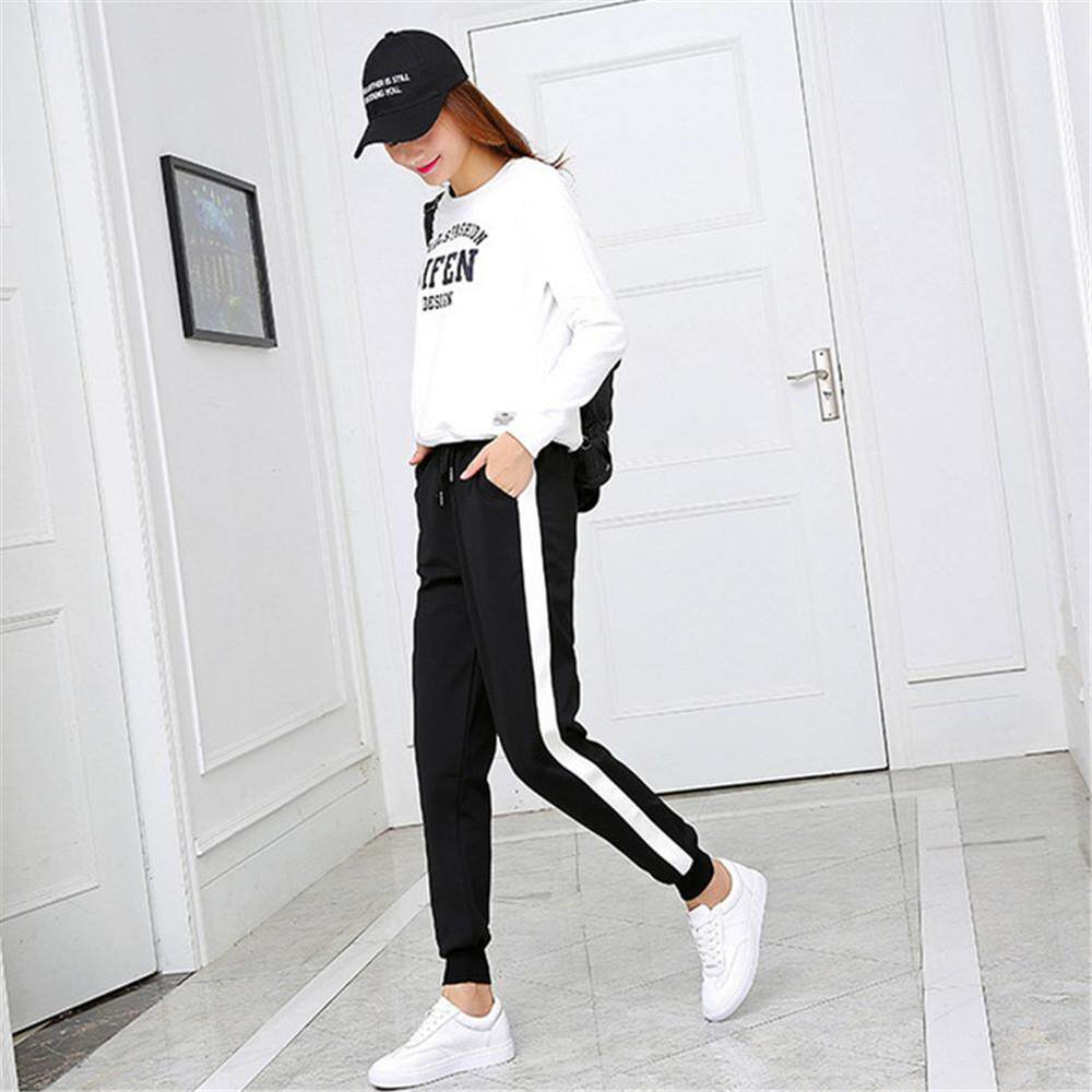 99a8537f39f5 Women s Loose Fit Jogging Pants (Black side white side wide mouth) (Black
