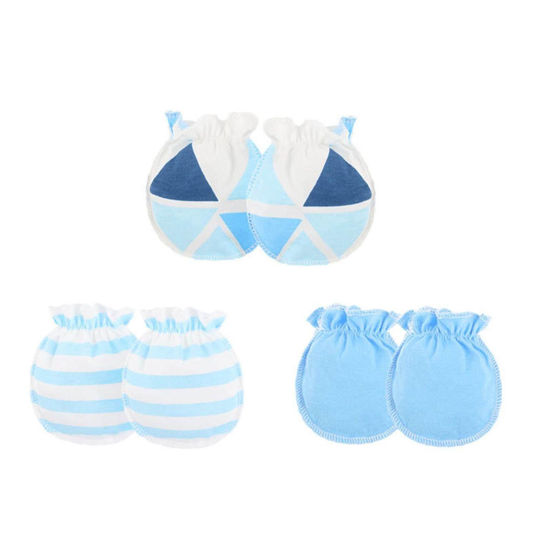 Size Newborn Blue Baby Cotton Scratch Mittens 2 Pairs