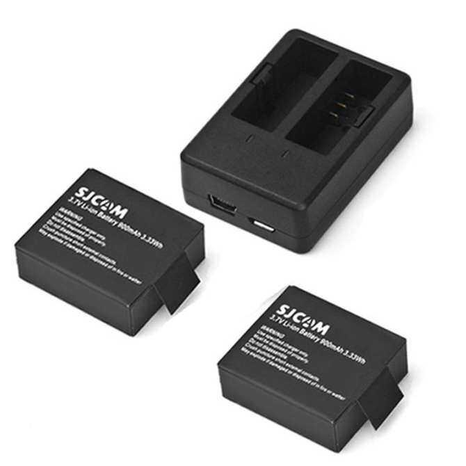 Asli SJCAM 900 MAh Baterai + Pengisi Daya Slot Ganda untuk SJ4000/SJ4000 WIFI/SJ5000/SJ5000 WIFI/SJ5000 PLUS /M10/M10 WIFI/M10 PLUS Kamera Aksi (Hitam) -Intl