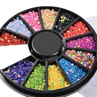 New 12 cells/Box Mixed Color 3D Nail Art Glitters Laser Manicure Wheel