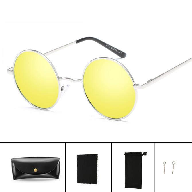 Hindfield 7711 New Women Polarized Sunglasses Brand Fashion Retro Prince Sun Glasses Round Metal Frame Glasses oculos de sol UV400