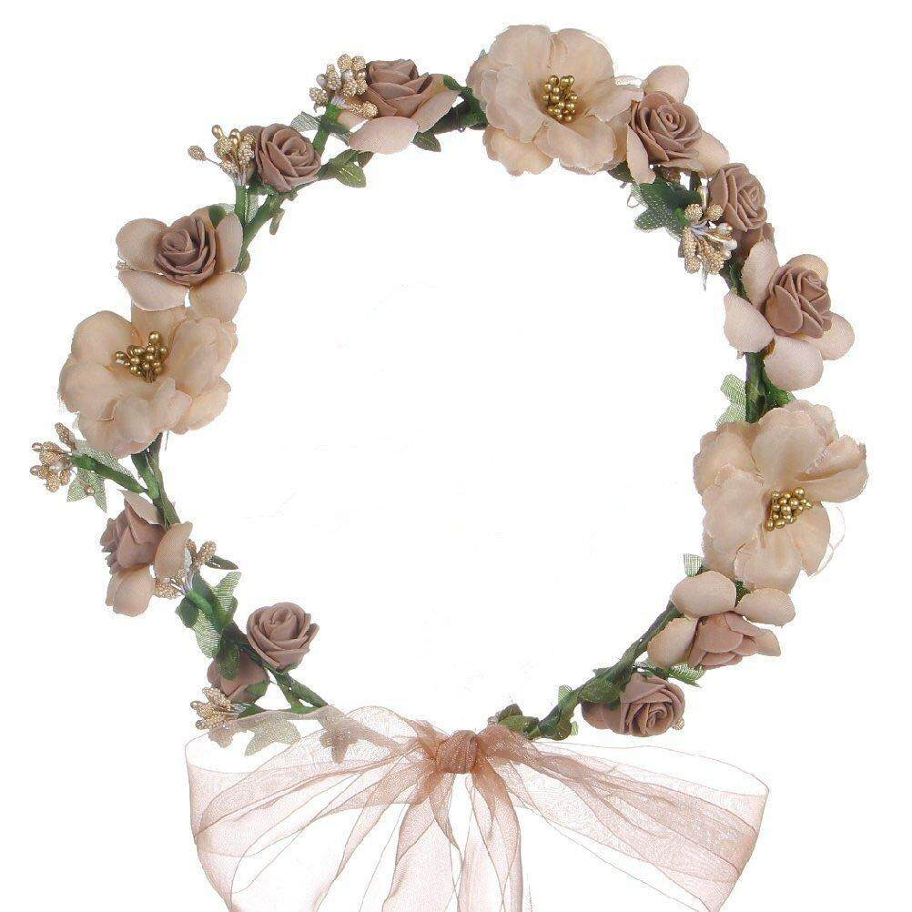Veecome Handmake Rose Flower Wreath Headband Floral Crown with Adjustable Ribbon for Wedding Holidays