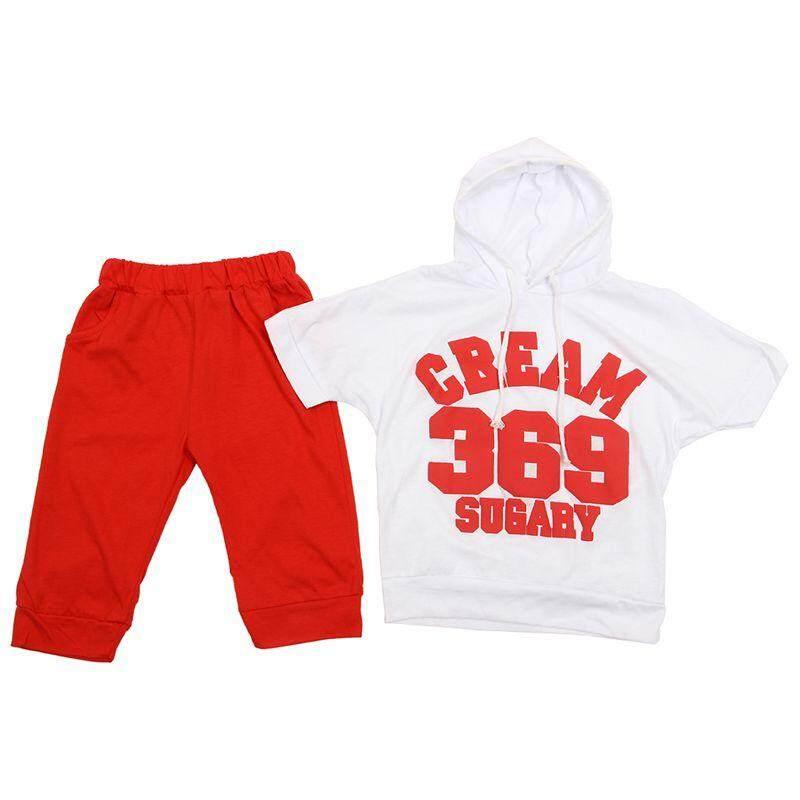 Baby Girls Boy Short Sleeve Sportswear Suit Hoodie T-shirt Tops Short Pants Red 2-3 Years - intl