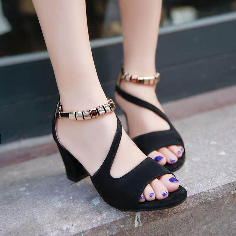 2017 Summer New Style Korean Style Fish Mouth A-Line Strap Sandals Female Block Heel Semi-High Heeled Students Versitile Fashion Womens Shoes By Slk1 Shoes Mall.
