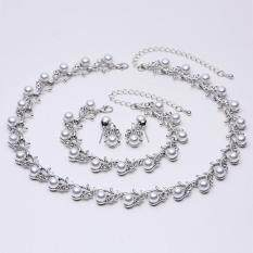 Faux Colorful Pearl Crystal Choker Beads Collar Necklace Earrings Bracelet Jewelry Set – intl