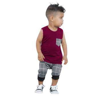 Tideshop Infant Toddler Baby Boys Girl Plaid Tops T Shirt Vest Shorts Outfits Clothes Set-