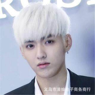 Tóc giả thẳng mềm mượt màu trắng giống như ảnh dành cho nam, thời trang tóc dành cho nam - INTL thumbnail
