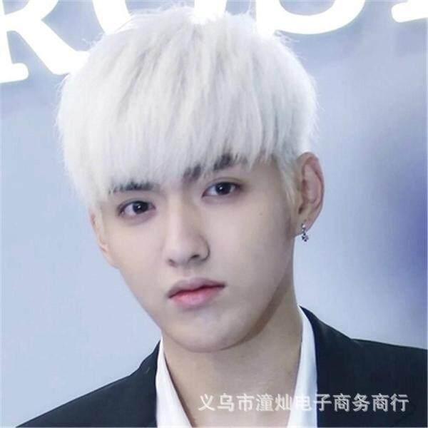 Tóc giả namTóc giả thẳng mềm mượt màu trắng giống như ảnh dành cho nam thời trang tóc dành cho nam - INTLtóc giả - Hàng quốc tế | Lưu ý thời gian giao hàng dự kiến
