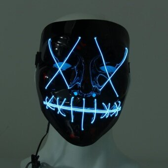 LED Light up Flash EL Wire DJ Party Raver Scary Mask Halloween Costume Cosplay Blue