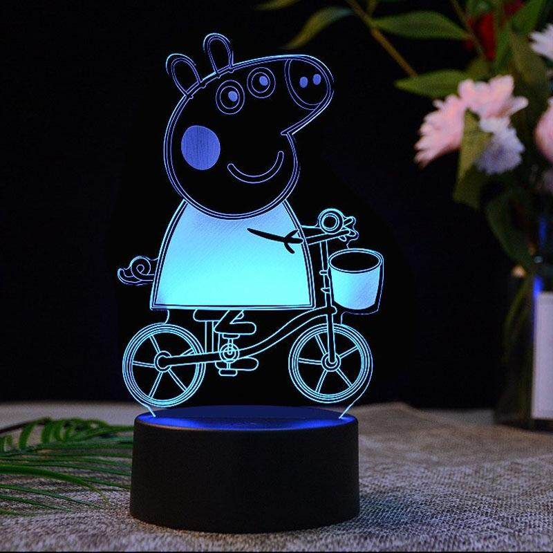Cartoon Pig Page 3D Acrylic 7 Colorful USB Night Light Touch Control Decoration Light Creative Desk Lamp For Kids's Gift