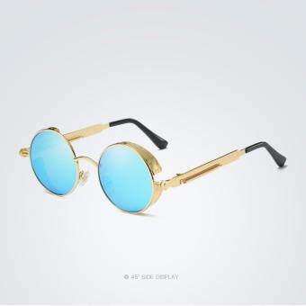Vintage Women Steampunk Sunglasses men Brand Design Round HD polarized Sunglases 372 (gold frame blue lense)