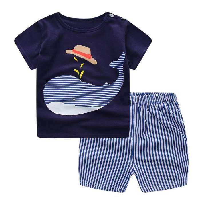 Qimiao 2 PCS Anak Pakaian Set Kaos Kartun + Celana Pendek