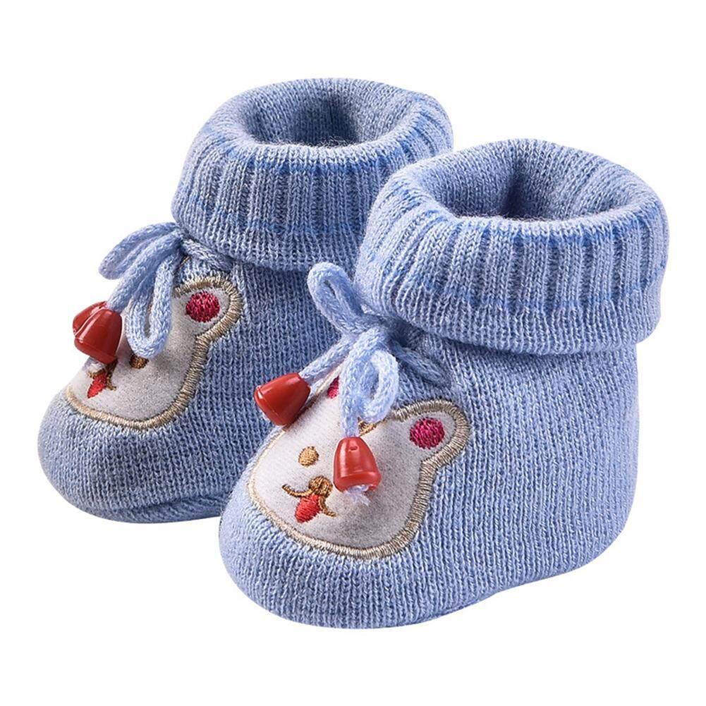 DeMeis Bé Sơ Sinh Ấm Giày Dệt Kim Giày Hoạt Hình Giày Tập Đi Cho Bé Bên Trong Chiều Dài 11 cm