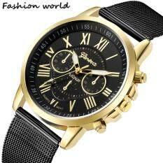 [NEW]GENEVA 618 Men's Casual Watches Roman Numerals Three-Eye Metal Mesh Strap Classic Retro Quartz Watch