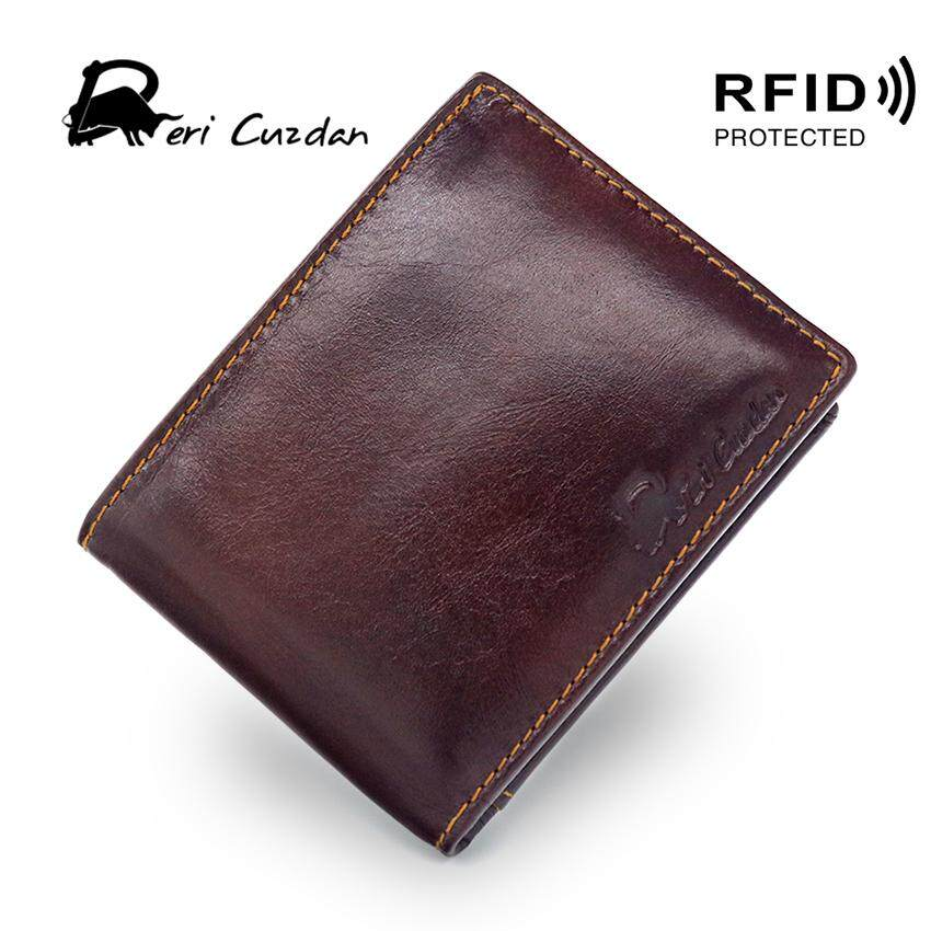 RFID protected Casual pure color bifold men short wallet genuine cow leather retro wallet man with card holders - intl
