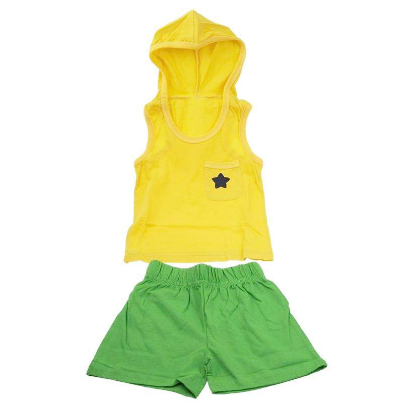 boy girl children clothing cotton summer cloth baby kids clothing suit set vest + short hooded sports sets star yellow 140cm - intl