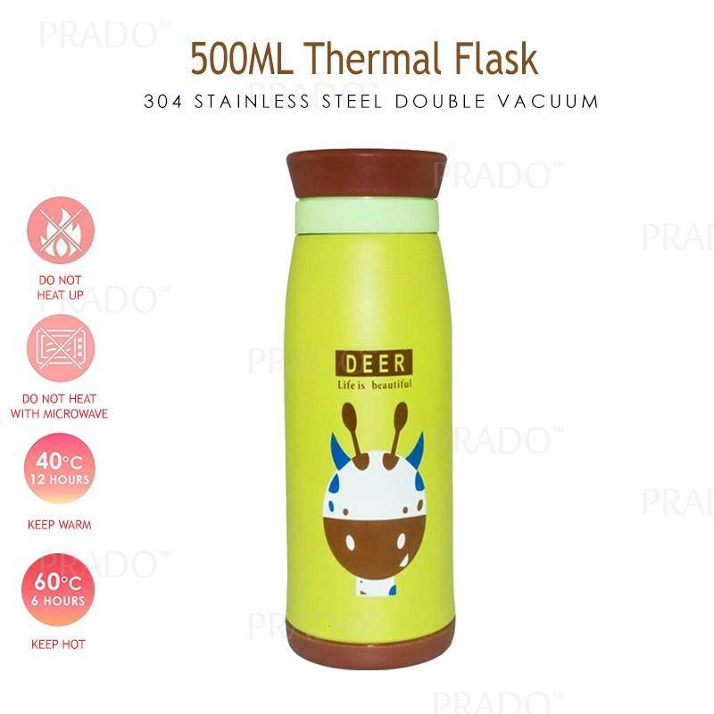 PRADO Malaysia 304 Stainless Steel 500ML Thermo Water Bottle Thermal Flask  Double Vacuum DX001 Thermos Tumbler