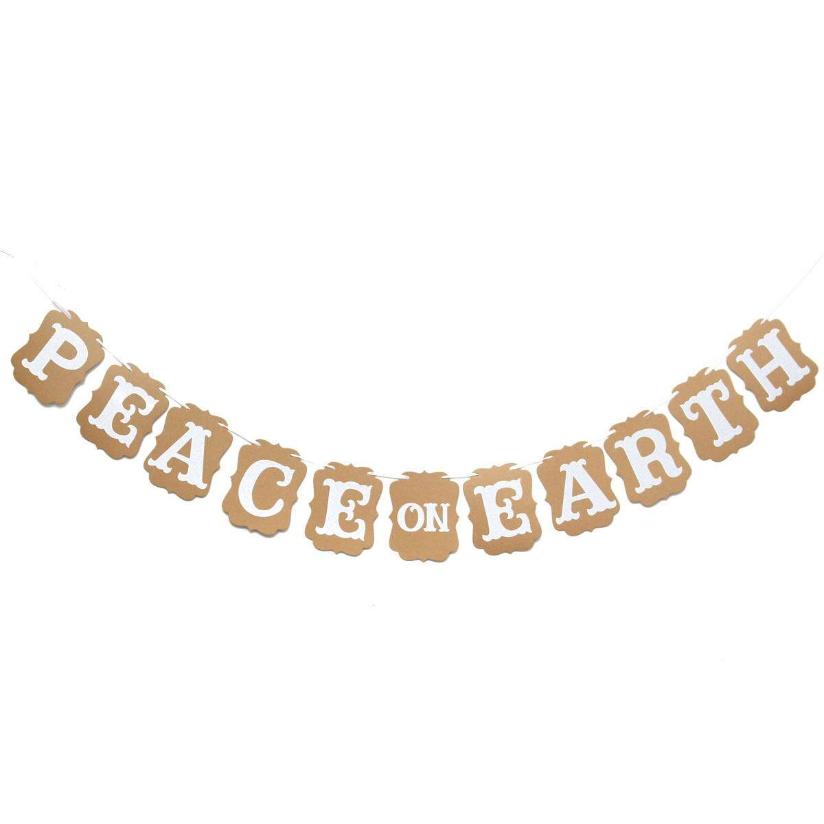 131616107996 Rustic Paper Card PEACE ON Banner Hanging Decoration Bunting Outdoor