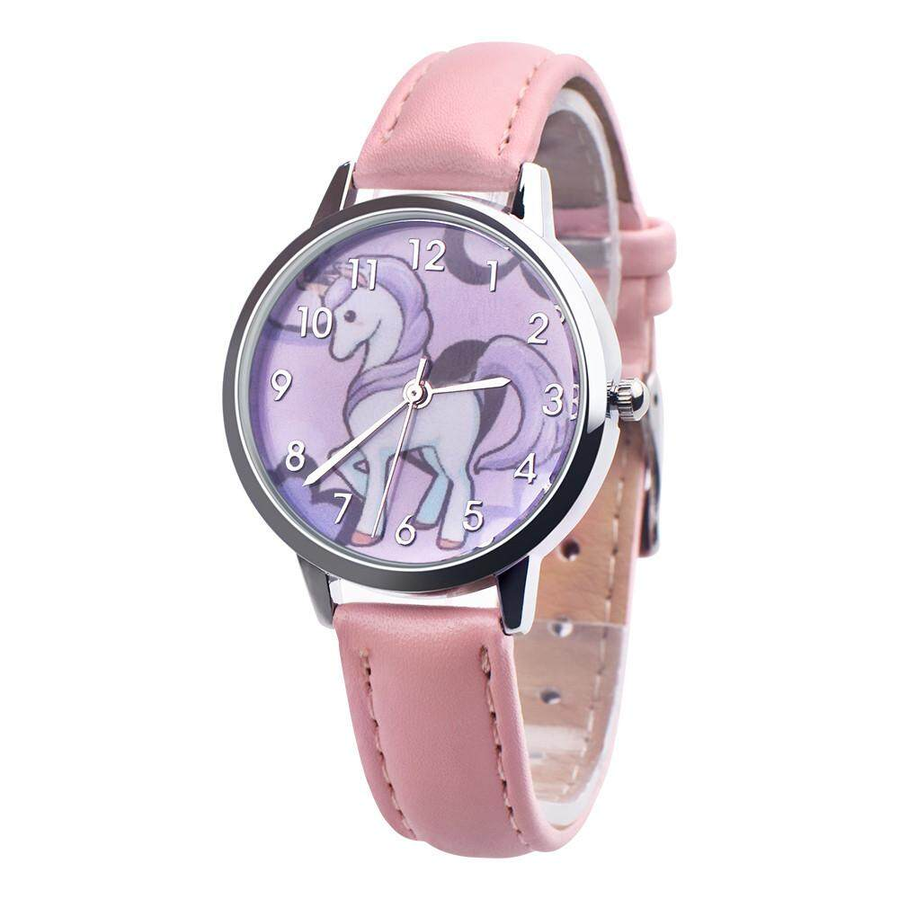 Fashion Cute Animal Kids Girls Leather Band Analog Alloy Quartz Watch - intl
