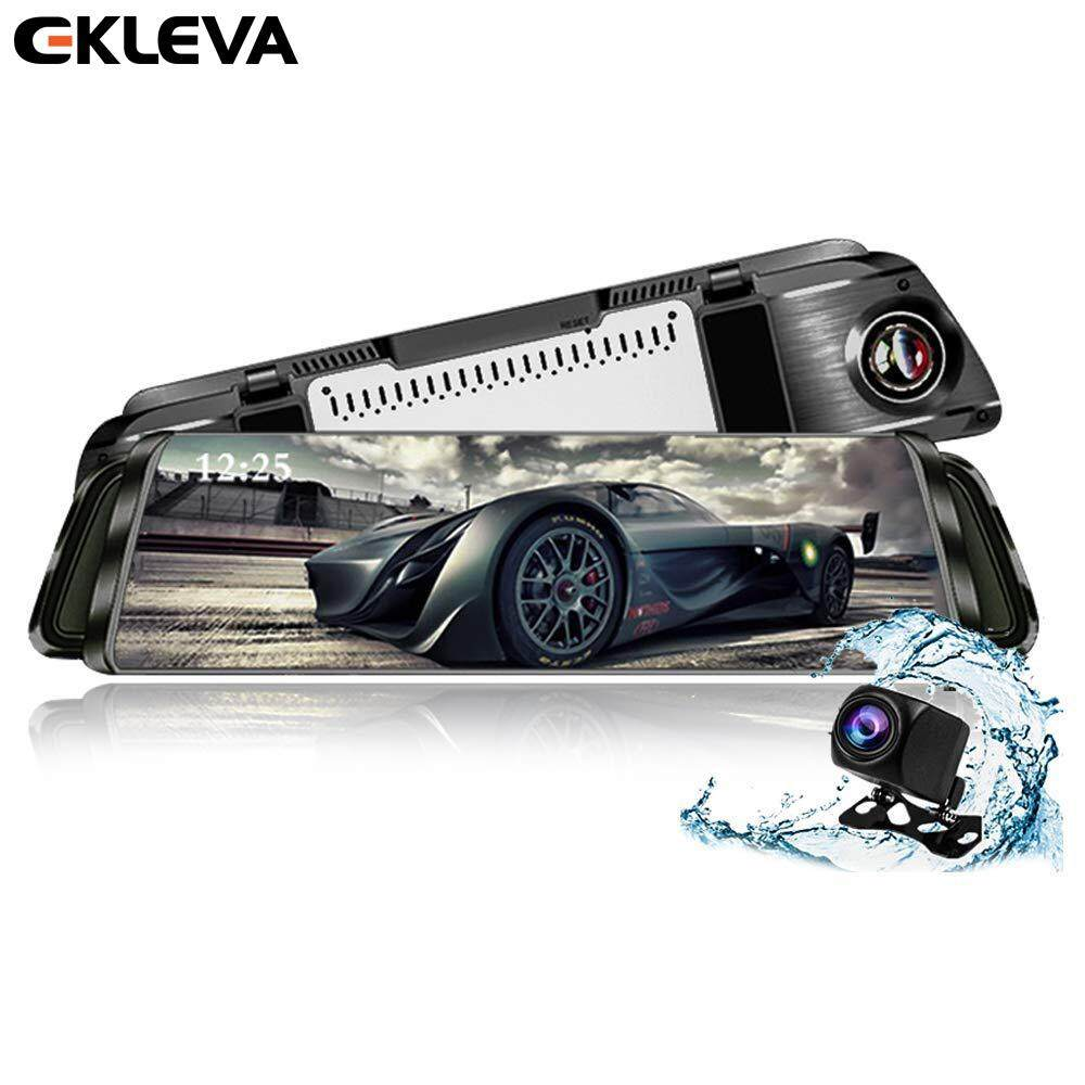 "EKLEVA Third Generation Mirror Dash Cam 10"" Streaming Media Touch Screen 1080P Rearview Front and Rear Dual Lens with Waterproof Reversing Camera"