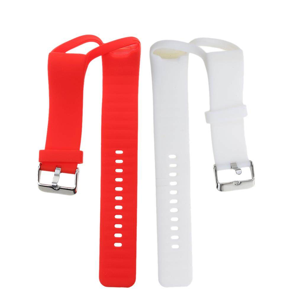 Miracle Shining 2Pack Silicone Wrist Band Strap & Clasp for Polar A360 Bracelet Red+ White