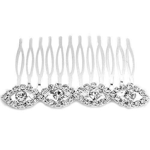 Silver plate rhinestone hair comb 82MM for woman