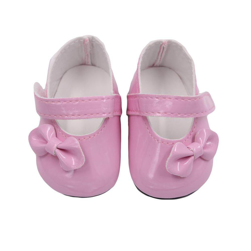 """Pink Glitter Bow Shoes made for 18/"""" American Girl Doll Clothes"""