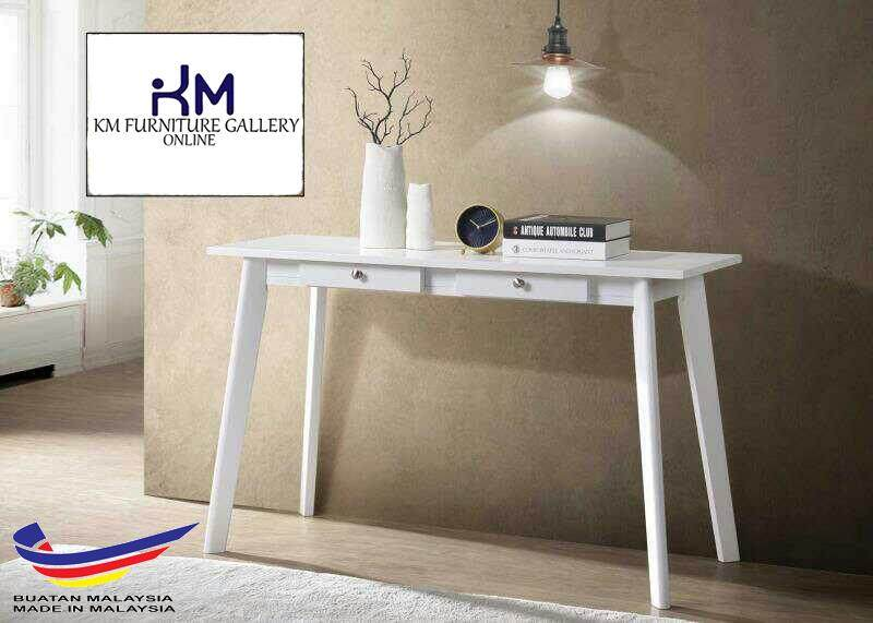 KM Furniture Gallery Console Table With 2 Drawer (Hf1240) White