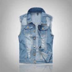 Quần Jean Không Tay Áo Khoác Nam Cộng Với Kích Thước Denim Jeans Vest Không Tay Nam Thời Trang Mùa Hè Giản Dị Dạo Phố Ngoài Trời Mỏng Harajuku Ulzzang Vest Homme